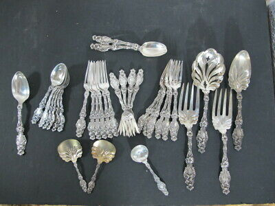 "Gorham Whiting ""Lily"" sterling silver 32pc flatware set MINT CINDITION"