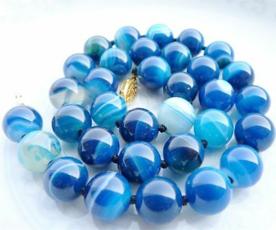 10Mm Antique Art Deco Genuine Rare Blue Chalcedony Agate Beads Necklace##Hl3228