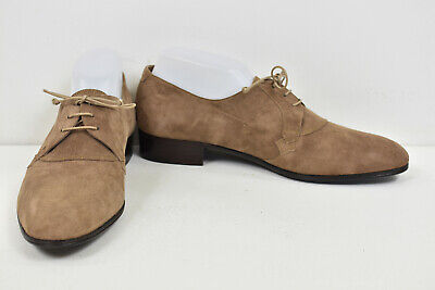 VTG FRANK FOTI Cocoa Brown Suede Logo Badge Oxford Shoe 8.5 HAND MADE ITALY EUC