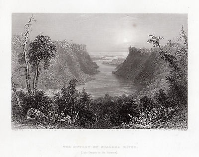 """William BARTLETT 1800s Engraving """"The Outlet of Niagara Rive"""" SIGNED Framed COA"""