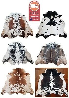 NEW LARGE 100% COW HIDE LEATHER RUGS TRICOLOR COWHIDE SKIN AREA CARPET 18-20sqft