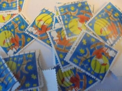 80 x 1st Class Xmas Stamps Father  Christmas on Sledge - Used - Off Paper