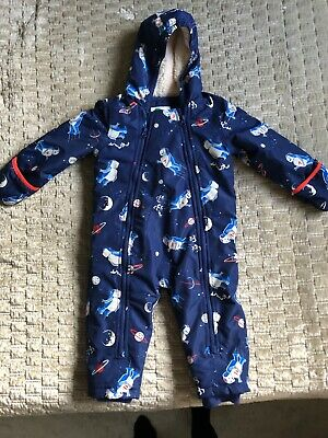 Boden Baby Boy Snowsuit All in One Blue Space Robot 18 - 24 Months