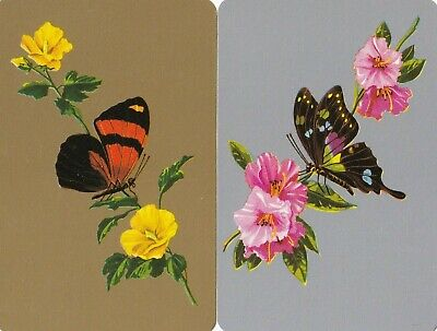 Swap Playing Cards x 1 pair Gold and Silver  Butterflies