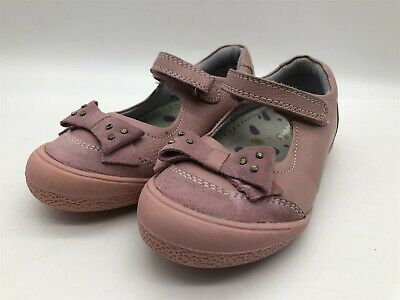 New Ex-Display Hush Puppies Childrens Pink Leather Bow Design Kids Strap Pumps