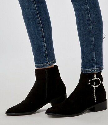 Bn Dorothy Perkins , Black Buckle Suede Ankle Boots Size U.k.8  41 Rrp €48.00