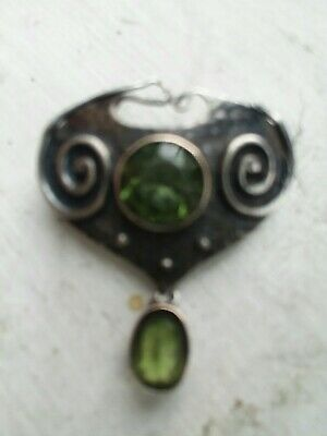 Murrle Bennett Arts & Crafts Sterling Silver Vintage Brooch Peridots England