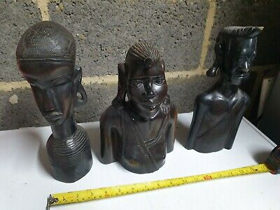 Bundle x3 large vintage hand carved figures head wood Heavy mixed tribal etc big