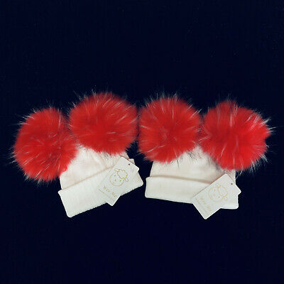 Wee Me Stunning Baby Girl Red Double Fur Pom Hat Mega Pom/Faux Fur/Perfect XMAS