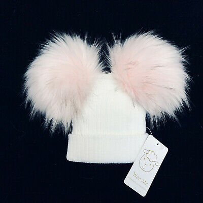 New Wee Me Gorgeous Baby Girl White with Pink Double Fur Pom Hat Mega Pom