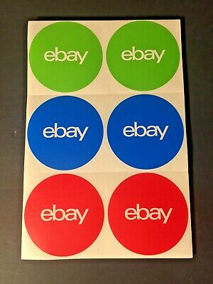 """100 Ebay, 3-Color, round branded Stickers 3"""" x 3"""" Red, Green, Blue"""