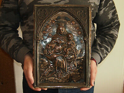 Religious French Antique Silvered Copper Plaque - Crowned Virgin And The Child
