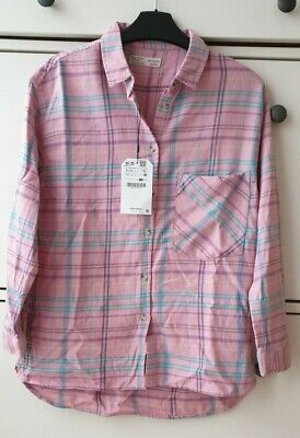 Zara Girls Pink Checked Blouse /Shirt  BNWT Age 11-12