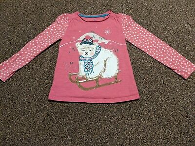 Girls Pink Winter Theme Long Sleeve Top Age 3-4 TU