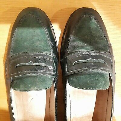 Vintage Russel & Bromley GREEN Leather and Suede Loafer Shoes in a Size 40
