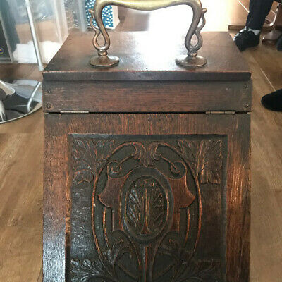 Beautiful Antique Art Nouveau Hand Carved Oak Coal Box