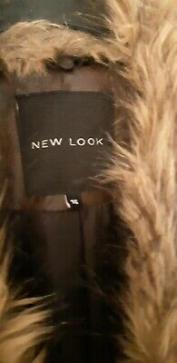 New Look Brown Distressed Look Faux Leather Jacket Removable Fur Collar 16 Xmas