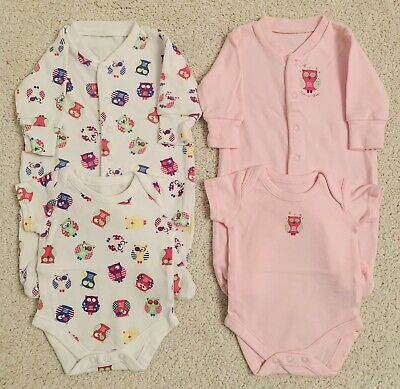 Bundle of x2 NEWBORN Baby Girl Sleep Suits and Matching x2 Short Sleeved Vests
