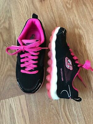 Girl Skechers Black/pink Trainers Size Uk 9.5