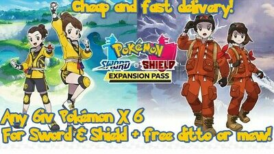 Pokemon Sword & Shield 6 X CHOOSE ANY 6iv Pokemon + 6iv Ditto CUSTOM team Shiny
