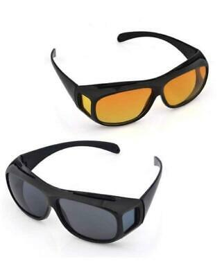 2 PACK HD Night Day Vision Driving Wrap Around Anti Glare Sunglasses