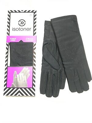 $45 NIB Isotoner Women's Classic Stretch Leather Palm Fleece Line Gloves BLK XL