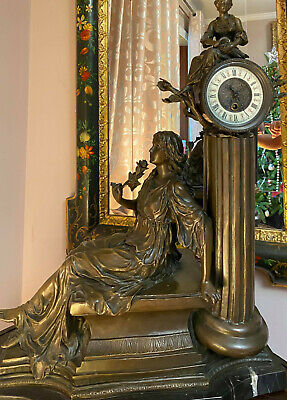 Rare Beautiful French Antique Lady Statue 8 Day Chime Mantel Clock Working