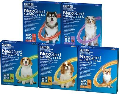 NexGard Spectra For Dogs - Covers Fleas Ticks Worms - 3 Chews All Sizes