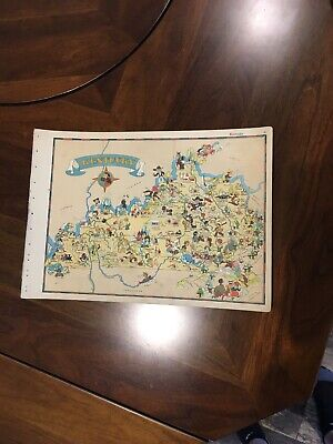 Vintage 1935 Kentucky OUR USA A GAY GEOGRAPHY CARTOON PICTORIAL MAP RARE