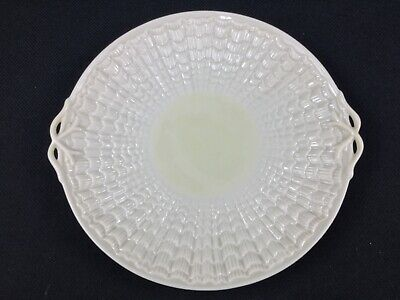 "Belleek Tridacna Yellow 10 5/8"" Double-Handled Cake Plate 2nd Green Mark 1955-65"