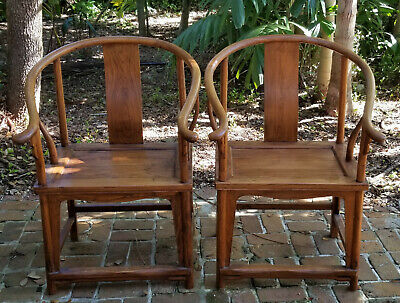Pair Of Antique Chinese Huanghuali Horseshoe-Back Armchair