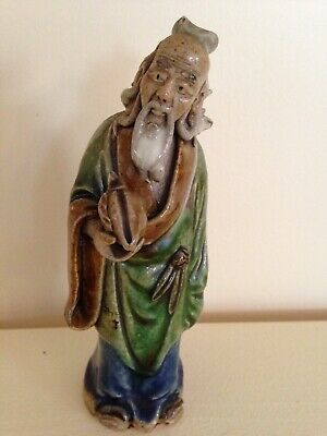 Antique 1890-1919 Chinese Mud Man Figurine, Majolica, highly detailed, 4.5""