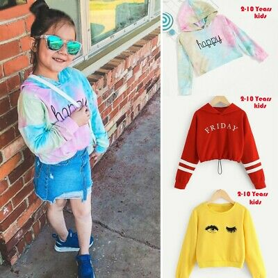 Casual Teen Kids Girls Letter Print Hooded Blouse Shirt Pullover Long Sleeve Top