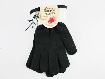 Ladies Stretch Gloves Stretches To Full Size Black & White Seaway NOS