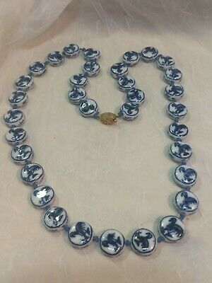 "Vtg Chinese Asian Blue/White Porcelain Bead 24"" Round Disk Necklace Rooster Flow"
