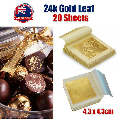 20x Pure 24K Edible Gold Leaf Sheets For Cooking Framing Art Craft Decorating O