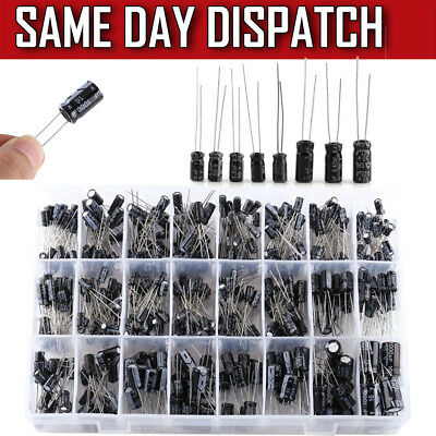 500pcs Electrolytic Capacitor Assortments Set 0.1UF-1000UF 16V-50V Low Frequency