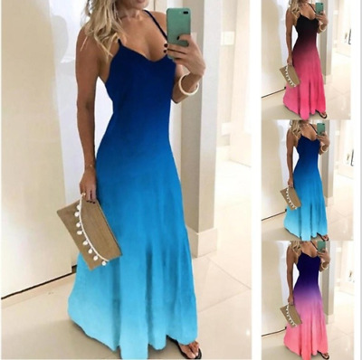 Women's Plus Size Strap Floral Summer Beach Loose Maxi Dress Swing Sundress Prom