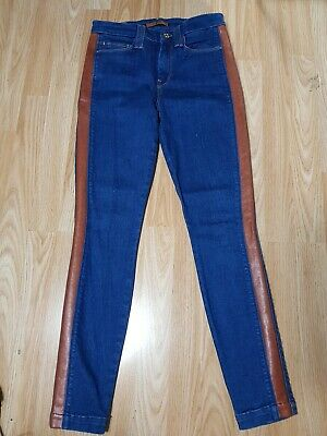 Seven 7 for All Mankind SKINNY slim Stretch BLUE BROWN LEATHER JEANS W 26 UK 8