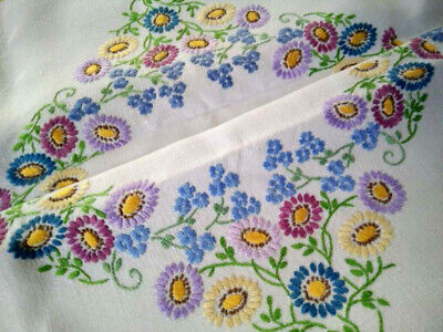 Wonderful 'Fairistytch' Pastel Flowers  Vintage Hand Embroidered Tablecloth
