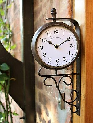 Garden Wall Station Clock Thermometer double sided Bracket Swivels Rust Effect