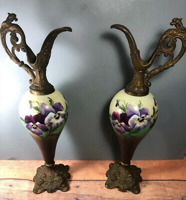 Antique Victorian Pair Of Handpainted Mantle Ewers Vases Pansy 9H