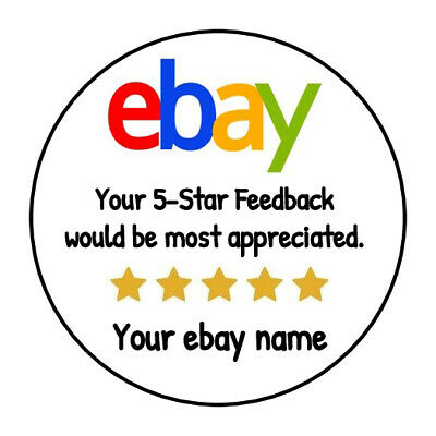 """90 Ebay Seller GLOSSY Round """"Thank You for Your 5 Star Ebay Purchase"""" Stickers"""