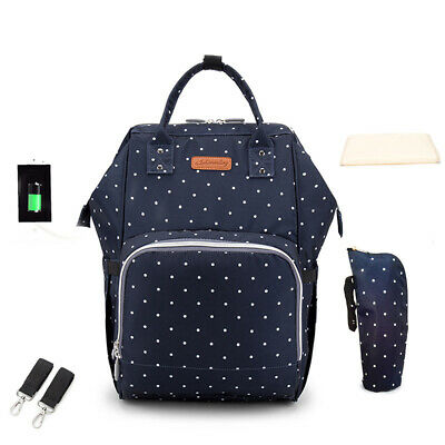 Baby Diaper Bag Backpack Mummy Bag Nappy Bags Multi-function Large Capacity V2H9
