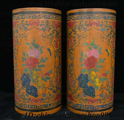 13 China Wood Lacquerware Ancient Works Brush Pot Pencil Vase Flower Bottle Pair
