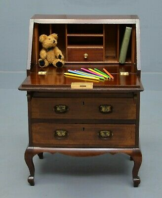 Rare Edwardian Mahogany & Marquetry Child`s Bureau Desk