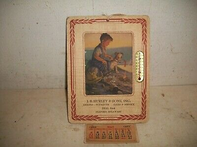 1952 J.B Hurley & Sons DeSoto & Plymouth Thermometer & Calendar Seaford Delaware