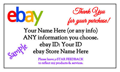 100 GLOSSY Custom EBAY Thank You Business Cards (3.5 x 2-inches)