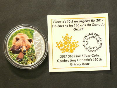2017 Canada $10 Grizzly Bear 150th Silver 99.99% #2567