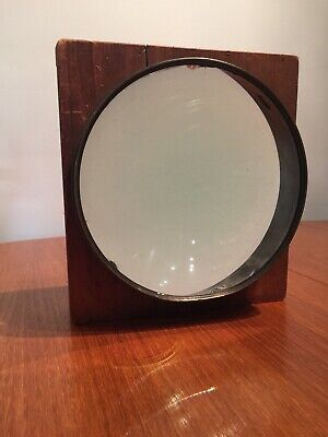 "Antique Large Ships Navigation Magnifying Glass Mounted In Wood 9"" Diameter"